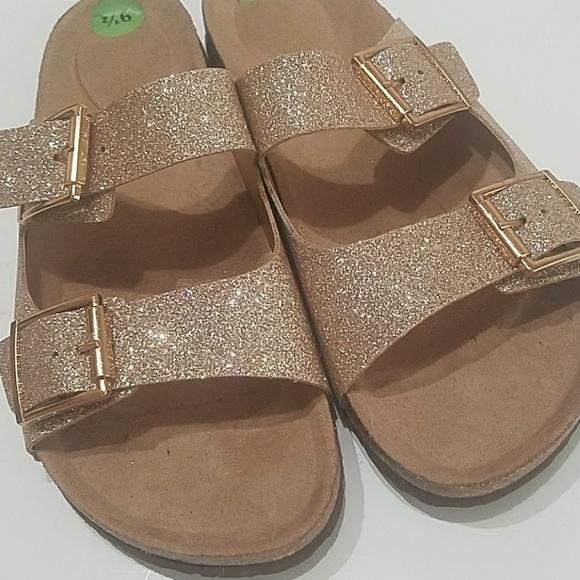 4abe7f8a947b Madden Girl Shoes - Madden Girl Brando Glitter Flat Sandals Rose Gold